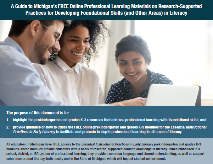 A Guide to Michigan's FREE Online Professional Learning Materials
